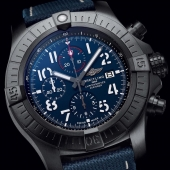 Power in action.   The Super Avenger Night Mission features a sturdy oversized 48mm DLC-coated titanium case with blue dial on a matching military strap. .  #breitling #squadonamission #avenger #nightmission #chronograph #pilotwatch #bluedial #bold #pilot #aviation #adventure #luxury #swissmade #watches #BreitlingWatch #BreitlingWatches #CTPundole #CTPundoleHouseofLuxury #CTPundoleWatches #LuxuryWatches #MensWatch #DailyWatch #WatchCollector #WatchGeek #Horology #WatchuSeek