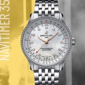 The Breitling Navitimer Automatic 35: introducing a legend to women around the world. #breitling #squadonamission #navitimer #icon #motherofpearl #steel #womenwatches #elegance #style #flair #behindthescenes #swissmade #watches #CTPundole #CTPundoleHouseofLuxury #CTPundoleWatches #LuxuryWatches #MensWatch #WomensWatch #LuxuryWatch